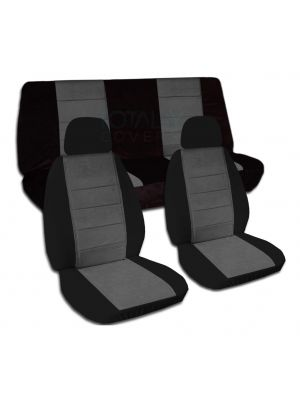 Two-Tone Car Seat Covers with 2 Front Headrest Covers - Full Set