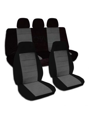 Two-Tone Car Seat Covers with 3 Rear Headrest Covers - Full Set