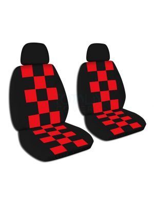 Checkered Car Seat Covers with 2 Separate Headrest Covers - Front