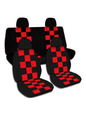 Checkered Car Seat Covers with 4 (2 Front + 2 Rear) Headrest Covers - Full Set