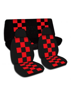 Checkered Car Seat Covers with 2 Front Headrest Covers - Full Set