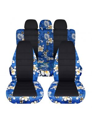 Hawaiian Print and Black Car Seat Covers with 3 Rear Headrest Covers - Full Set