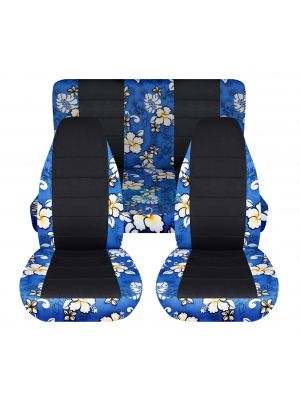 Hawaiian Print and Black Car Seat Covers - Full Set