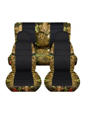 Camouflage and Black Car Seat Covers with 2 Front Headrest Covers - Full Set