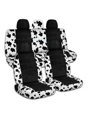 Animal Print and Black Car Seat Covers with 5 (2 Front + 3 Rear) Headrest Covers - Full Set
