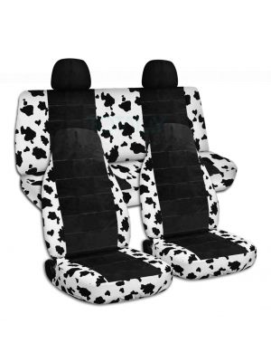 Animal Print and Black Car Seat Covers with 2 Rear Headrest Covers - Full Set