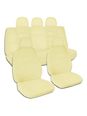 Solid Colour Car Seat Covers with 5 (2 Front + 3 Rear) Headrest Covers - Full Set