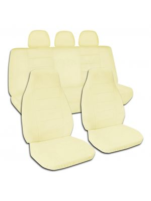 Solid Color Car Seat Covers with 3 Rear Headrest Covers - Full Set