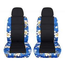 Hawaiian Print and Black Car Seat Covers with 2 Separate Headrest Covers - Front