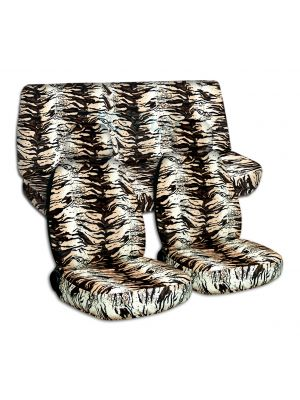 Animal Print Car Seat Covers with 2 Front Headrest Covers - Full Set