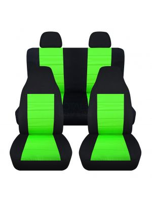 2-Tone Car Seat Covers with 2 Rear Headrest Covers - Full Set