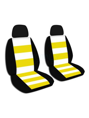 Striped Car Seat Covers with 2 Separate Headrest Covers - Front