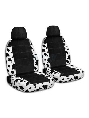 Animal Print and Black Car Seat Covers with 2 Separate Headrest Covers - Front