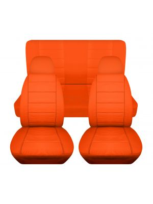Solid Car Seat Covers with 2 Front Headrest Covers - Full Set