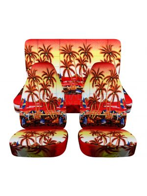 Hawaiian Print Car Seat Covers - Full Set