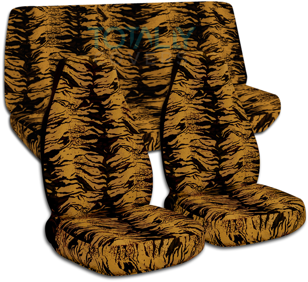White Tiger Print Car Seat Covers
