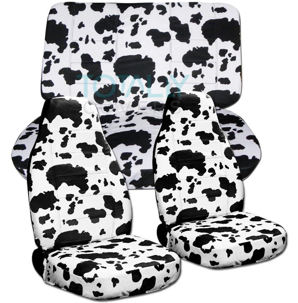 animal print car seat covers full set semi custom zebra cow leopard tiger ebay. Black Bedroom Furniture Sets. Home Design Ideas