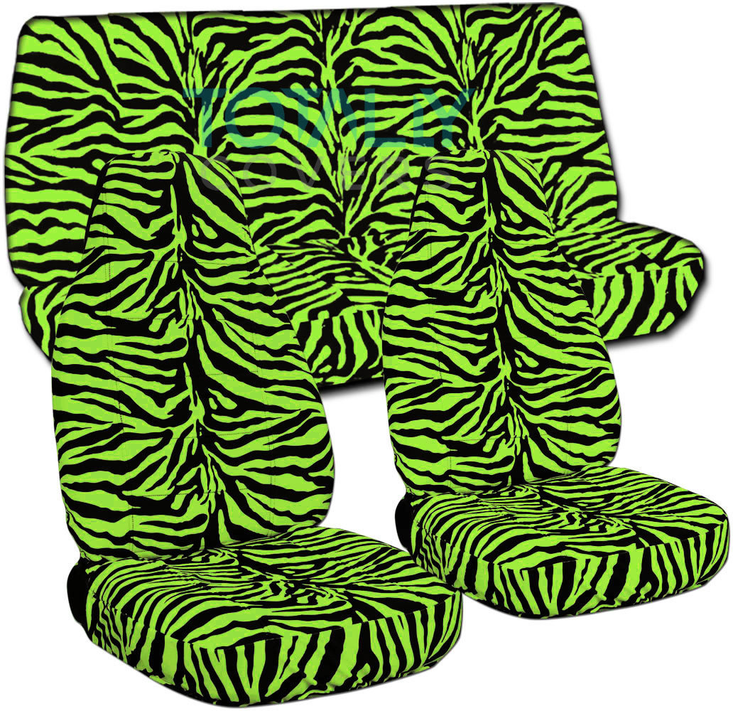 Green Zebra Print Animal Print Car Seat ...