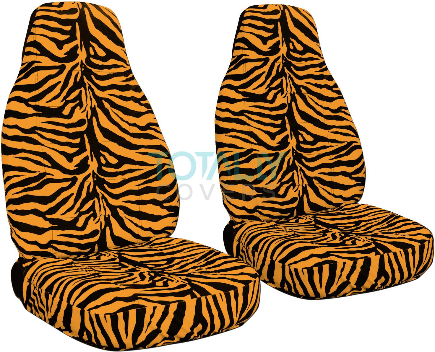 Orange And Black Zebra Car Seat Covers