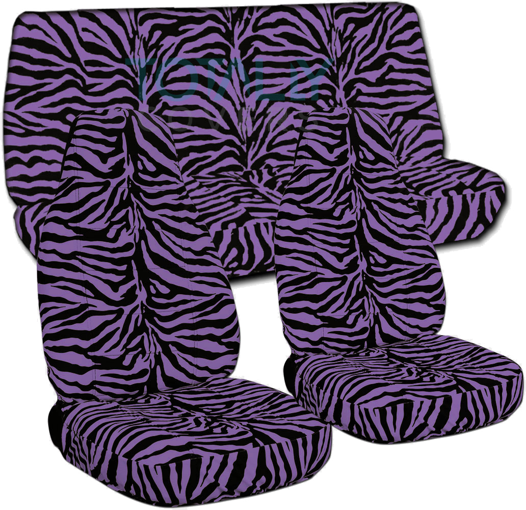 Purple And Black Zebra Car Seat Covers