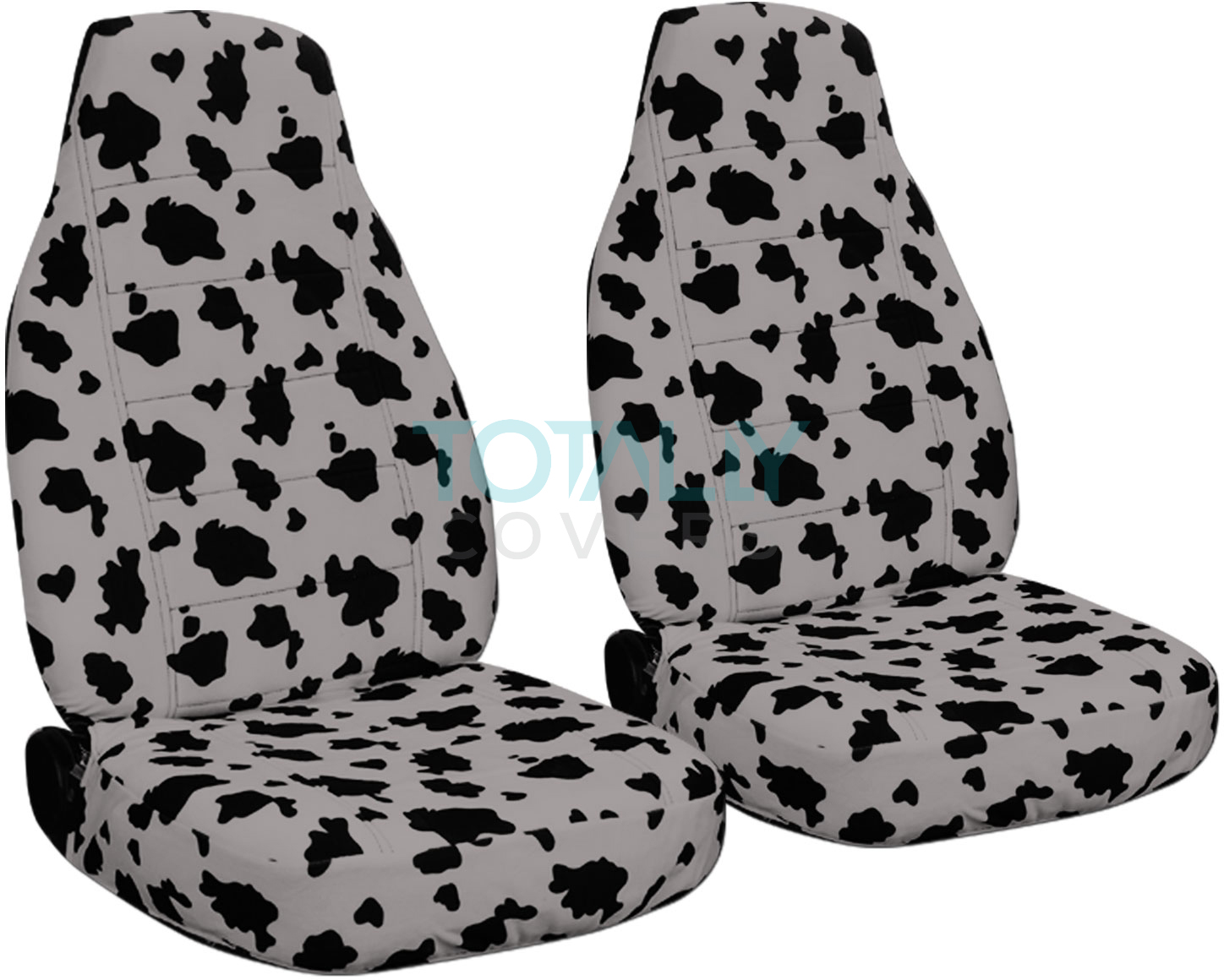 Car With Black White Cow Seat Covers