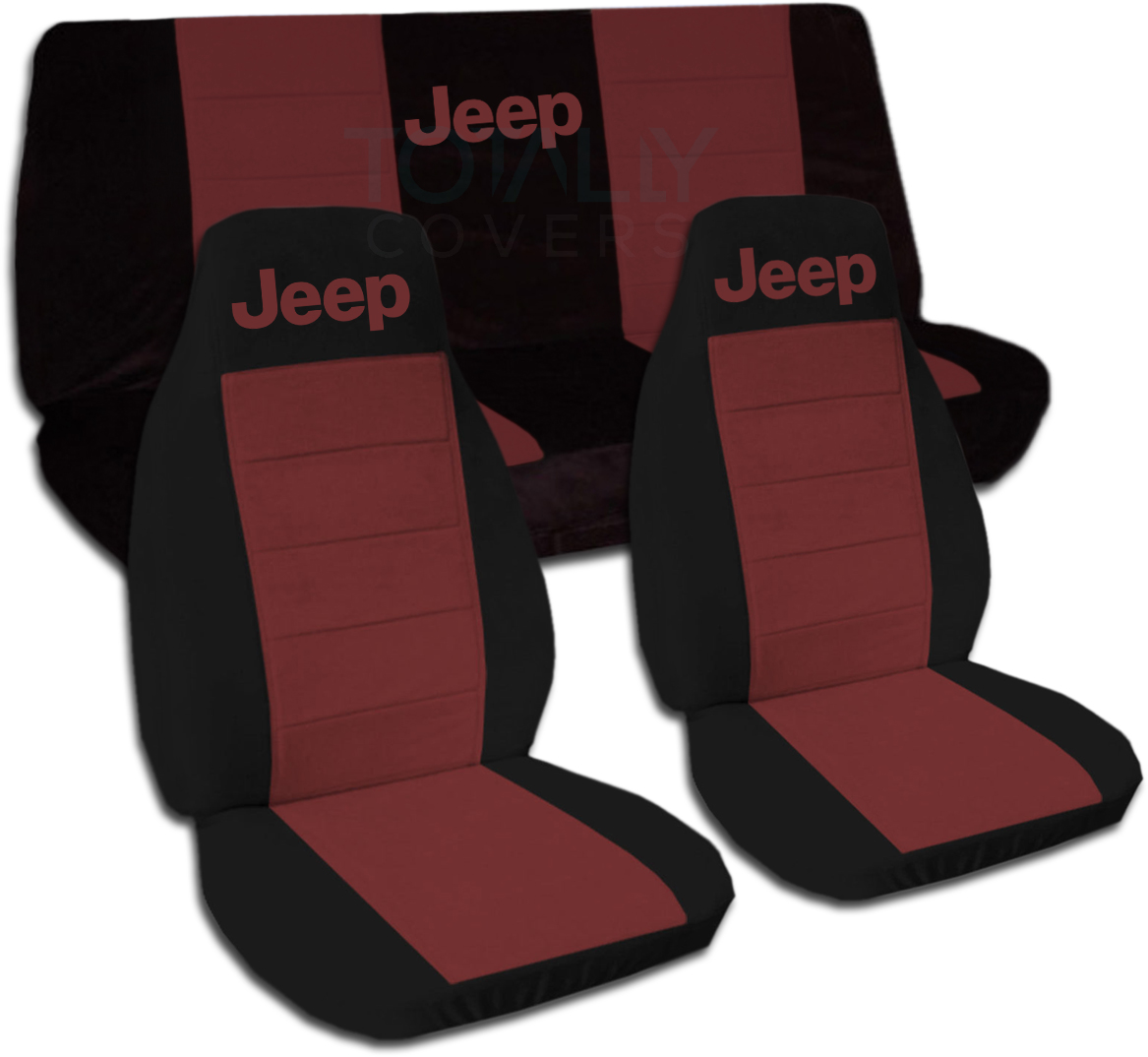 Jeep Wrangler Seat Covers >> Details About Jeep Wrangler Yj Tj Jk Jl 1987 2019 Two Tone Seat Covers W Logo Front Rear Set