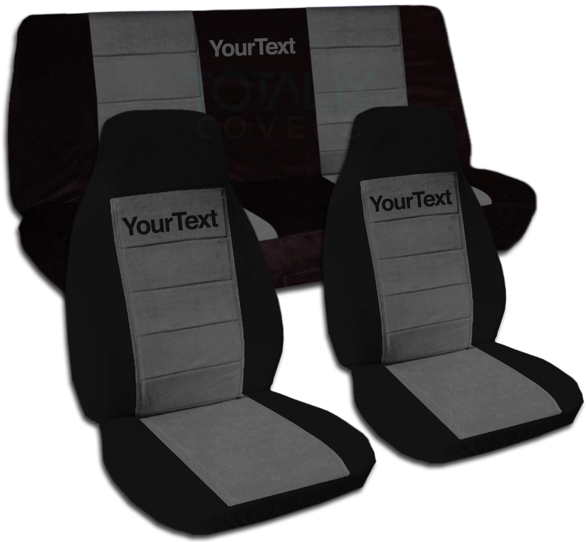 Jeep Seat Covers >> Details About Jeep Wrangler Yj Tj Jk Jl 1987 2019 Two Tone Seat Covers W Your Text Front Rear