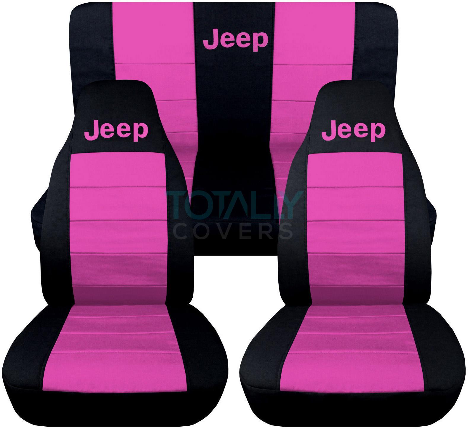 jeep wrangler yj tj jk 1987 2018 2 tone seat covers w logo front rear full set ebay. Black Bedroom Furniture Sets. Home Design Ideas