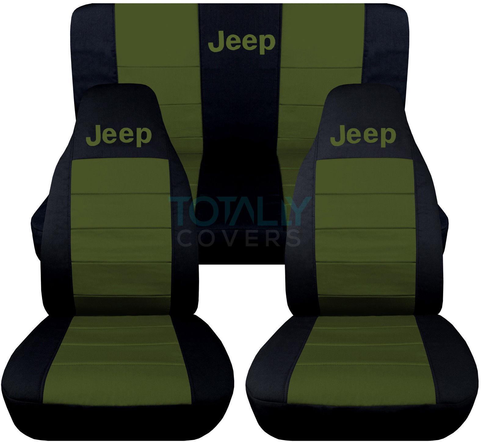 jeep wrangler yj tj jk 1987 2017 2 tone seat covers w logo front rear full set ebay. Black Bedroom Furniture Sets. Home Design Ideas