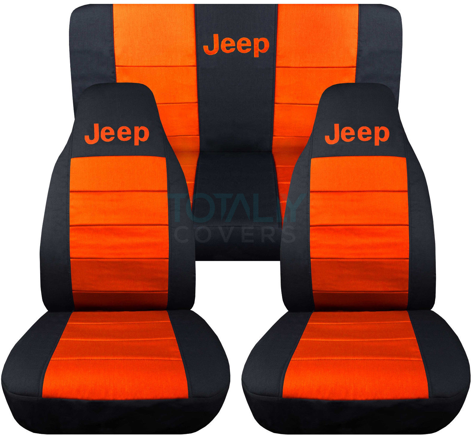 Jeep Wrangler Black And Orange Logo Seat Covers