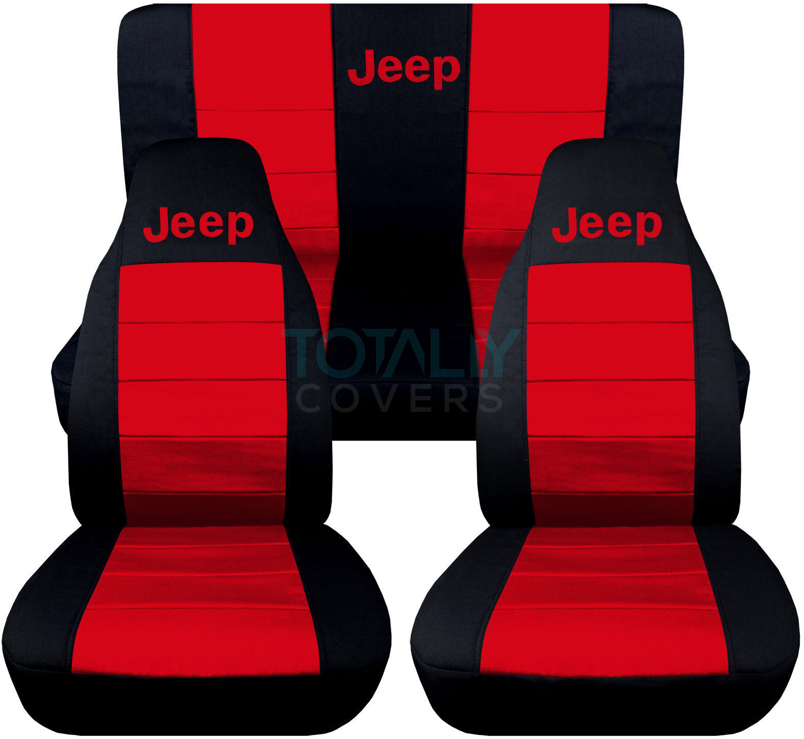 Jeep Wrangler Black And Red Logo Seat Covers