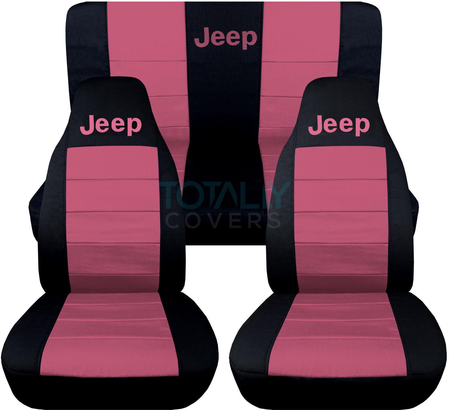 Jeep Wrangler YJ TJ JK 1987 2017 2 Tone Seat Covers W Logo