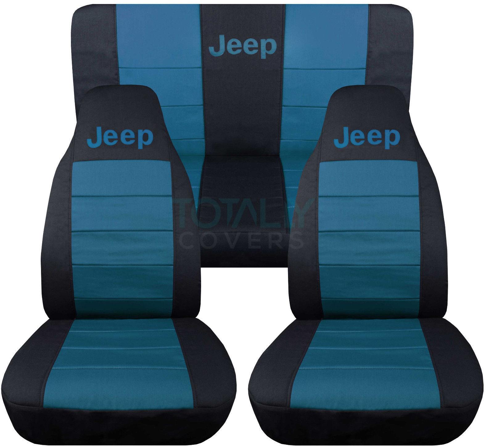 jeep wrangler yj/tj/jk 1987-2017 2-tone seat covers w logo front