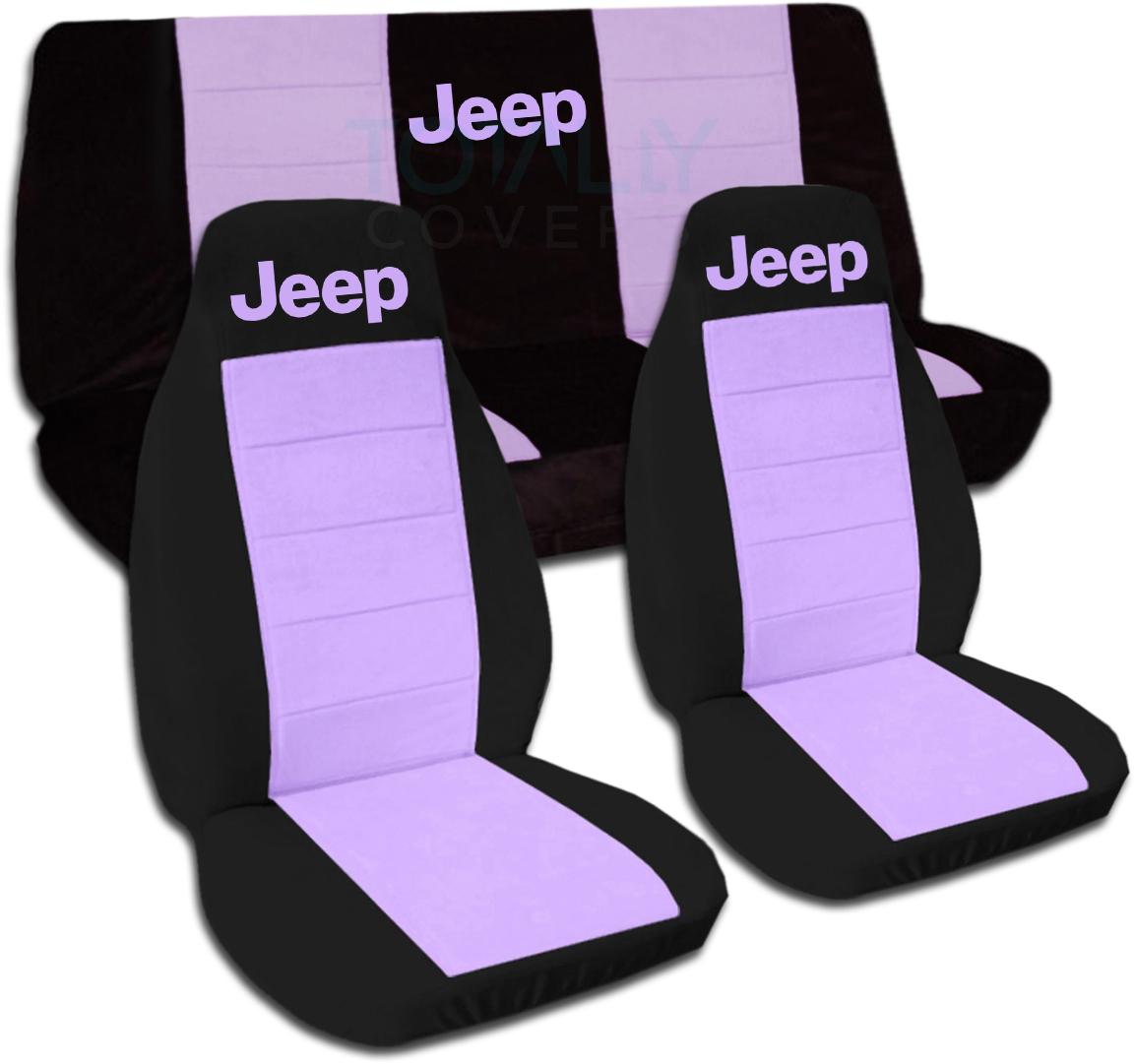 jeep wrangler yj tj jk 1987 2017 two tone seat covers w logo full set front rear ebay. Black Bedroom Furniture Sets. Home Design Ideas