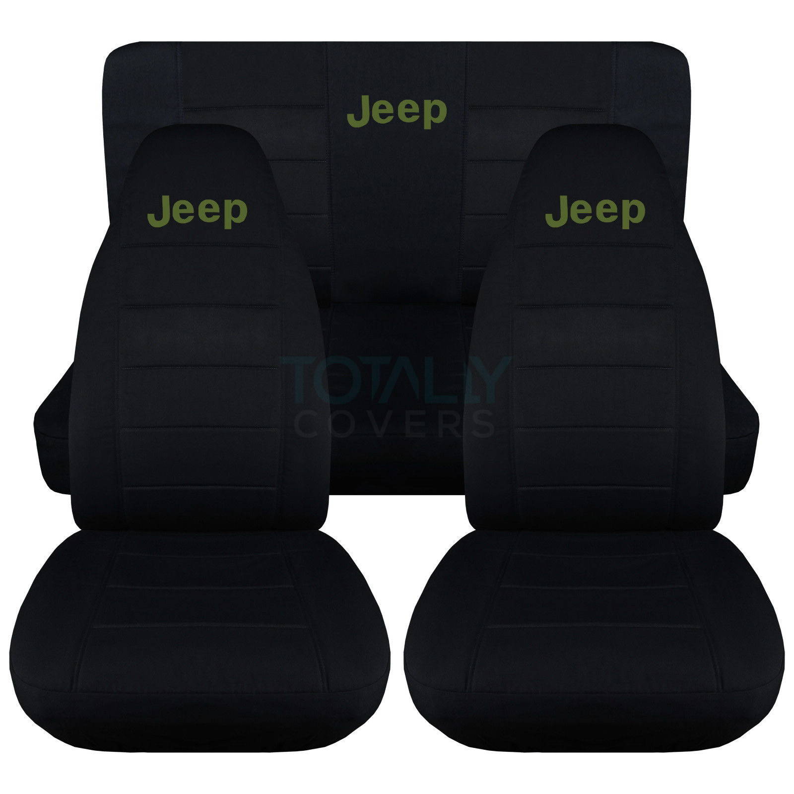 Wrangler Jeep Seat Covers >> Jeep Wrangler YJ/TJ/JK 1987-2017 Black Seat Covers w Logo Front & Rear Full Set | eBay