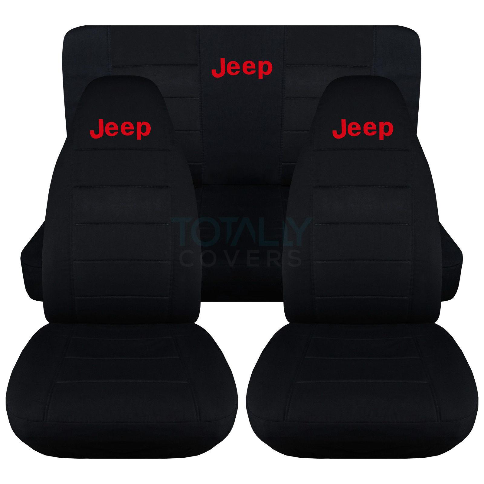 Jeep Wrangler Yj Tj Jk 1987 2018 Black Seat Covers W Logo