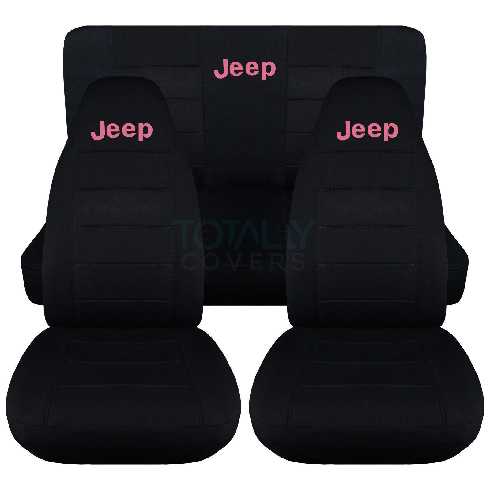 jeep wrangler yj/tj/jk 1987-2017 black seat covers w logo front