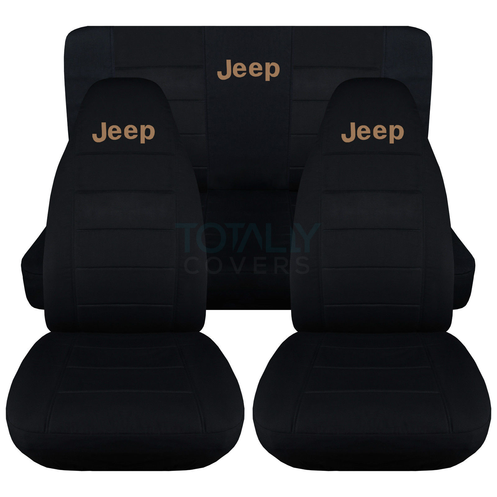 Jeep Wrangler Black With Tan Logo Seat Covers