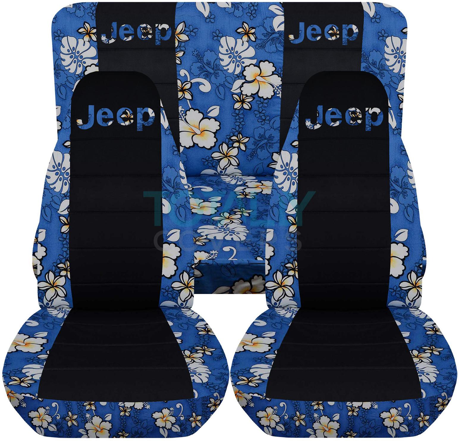 Jeep Wrangler Blue Hawaiian And Black Seat Covers With Jeep Logo ...