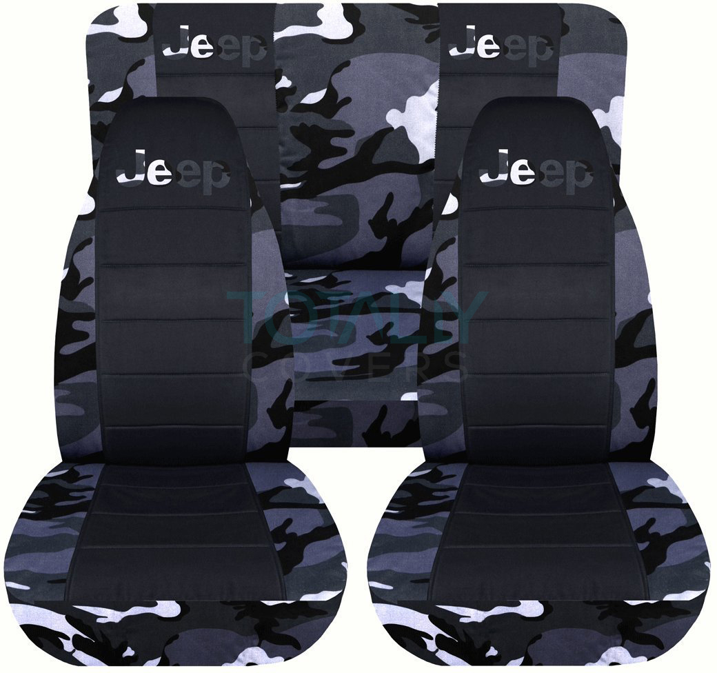 Jeep Wrangler Gray Camo And Black Seat Covers With Logo