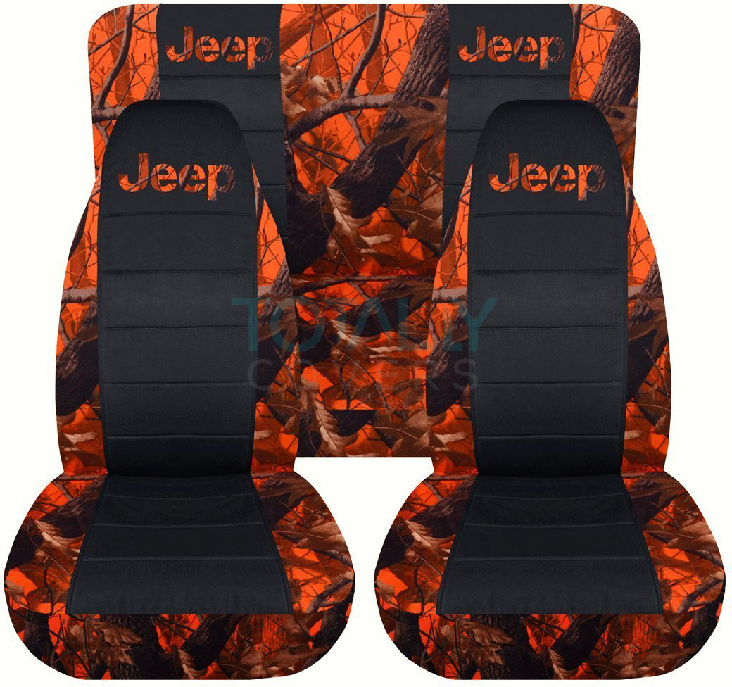 Jeep Wrangler Yj Tj Jk 1987 2017 Camo Amp Black Seat Covers Front Amp Rear Full Set Ebay