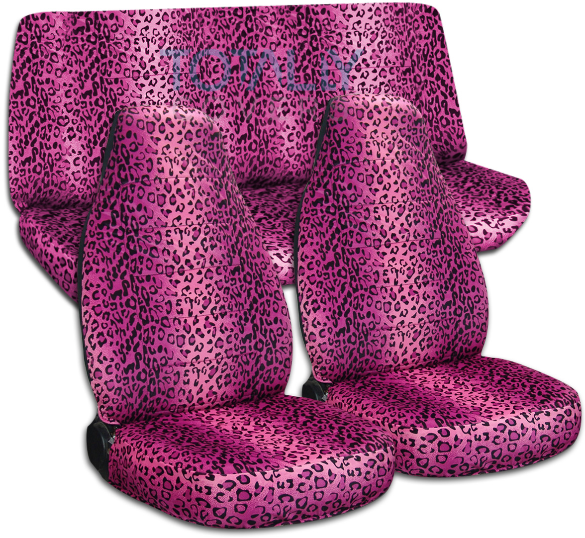 Hot Pink Leopard Print Car Seat Covers