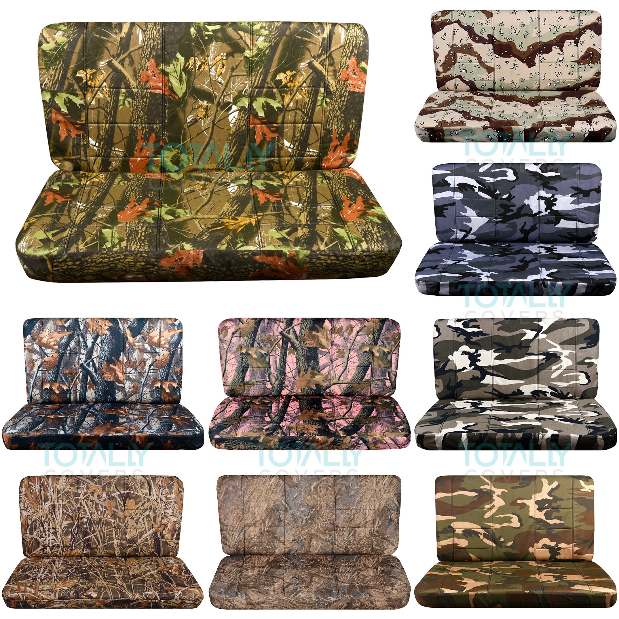 Camouflage Print Bench Seat Covers With Armrest Console Cover