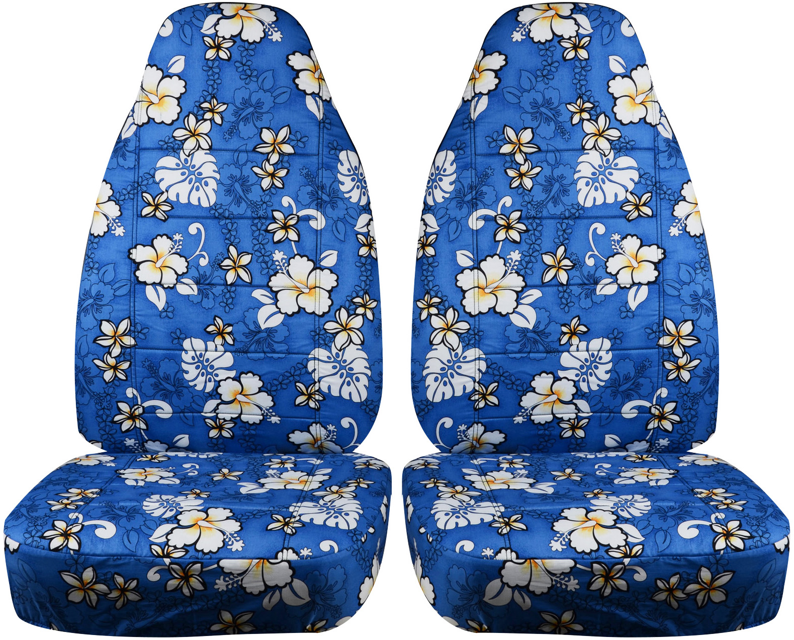 hawaiian print car seat covers front semi custom blue red yellow palm flowers ebay. Black Bedroom Furniture Sets. Home Design Ideas