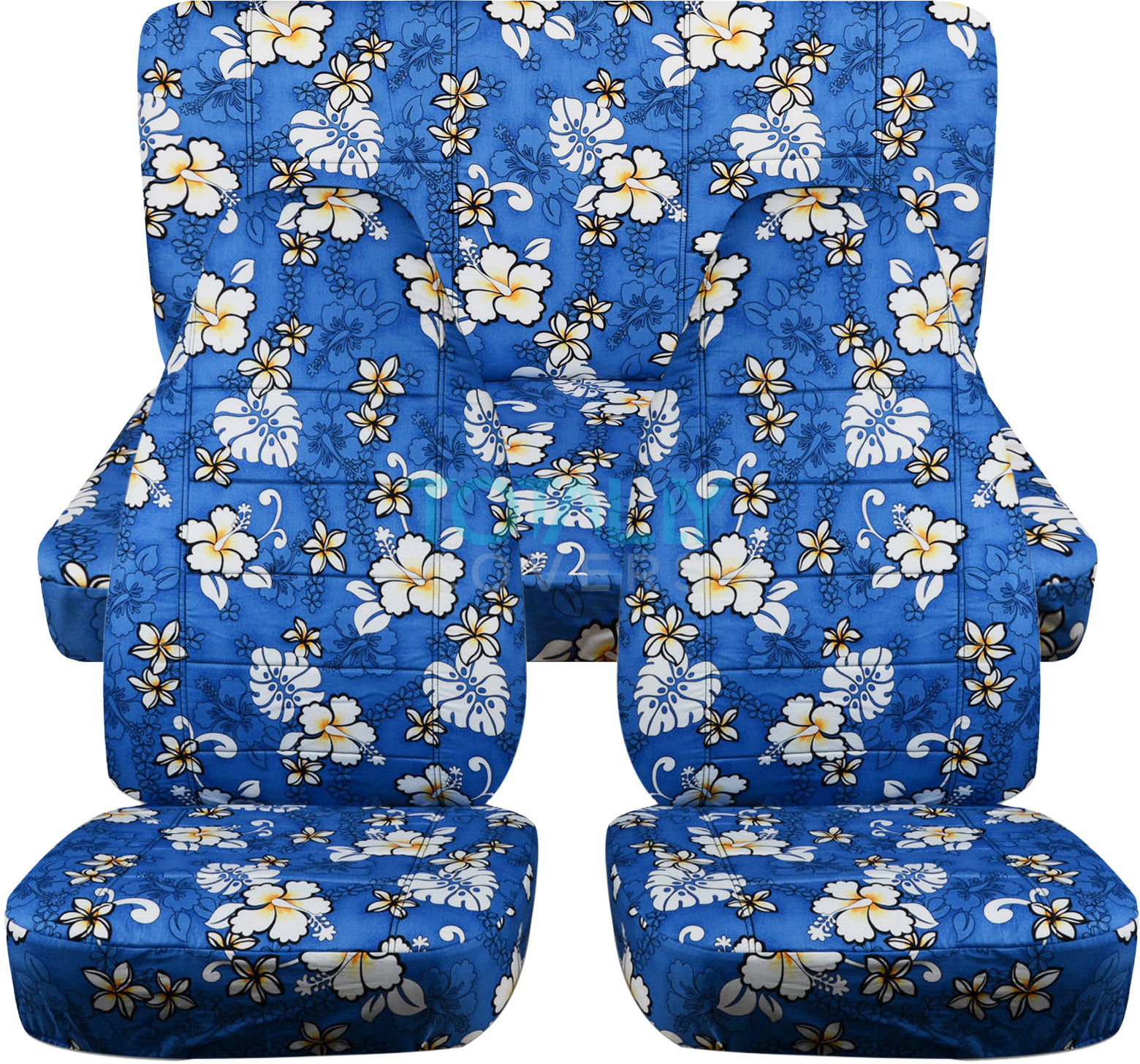 hawaiian print car seat covers full set semi custom blue red yellow palm flwr ebay. Black Bedroom Furniture Sets. Home Design Ideas