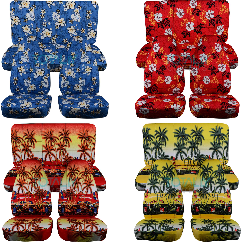 Hawaiian Print Car Seat Covers Front Semi Custom Blue