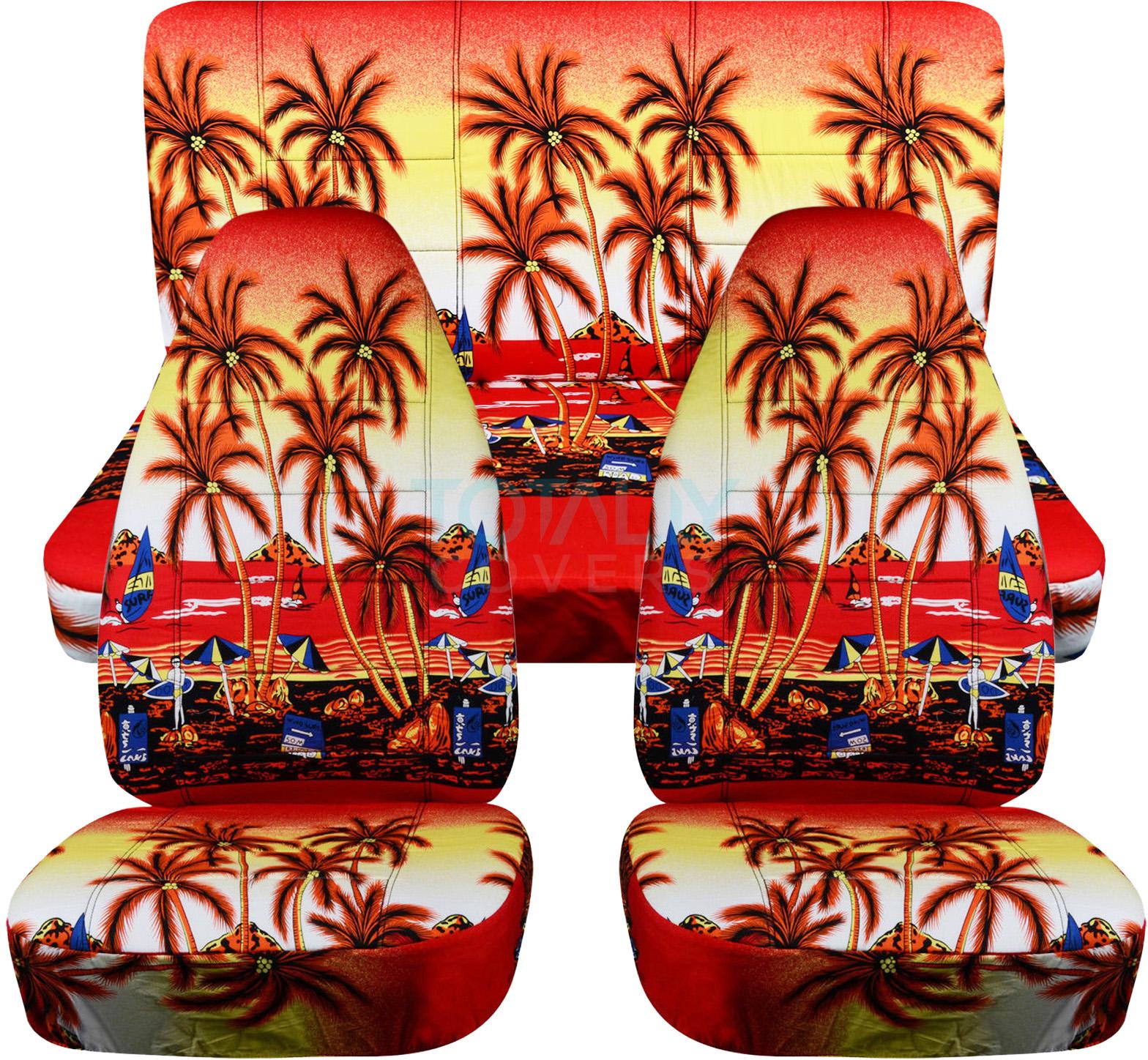 Hawaiian Car Seat Covers >> Hawaiian Print Car Seat Covers (Full Set, Semi-custom) Blue/Red/Yellow Palm/Flwr | eBay