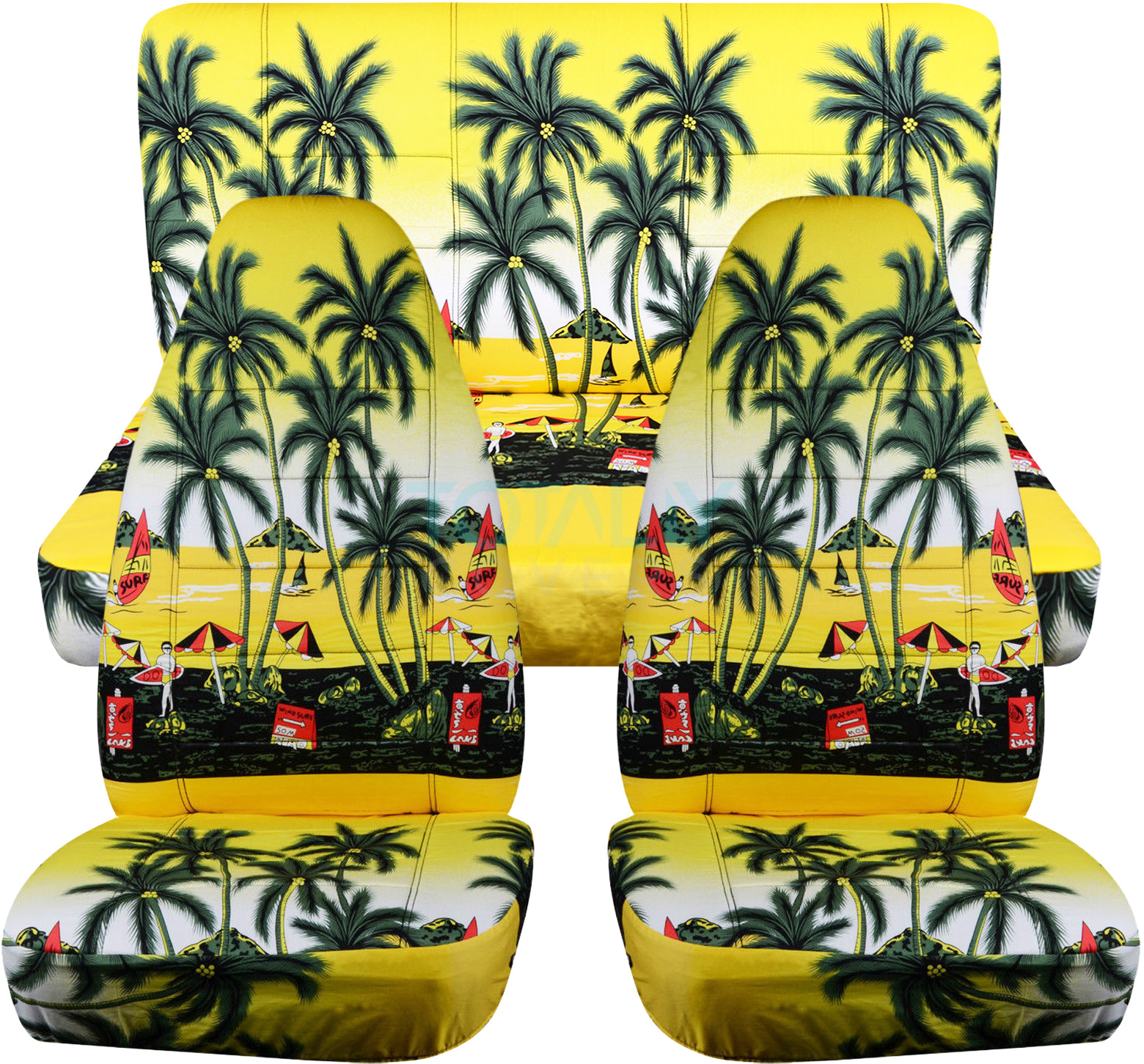 Hawaiian Print Car Seat Covers (Full Set, Semi-custom