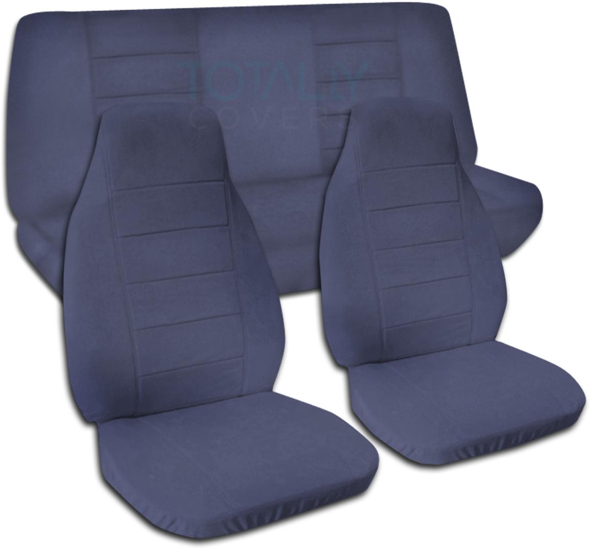 solid color car seat covers full set semi custom black gray brown blue pink ebay. Black Bedroom Furniture Sets. Home Design Ideas