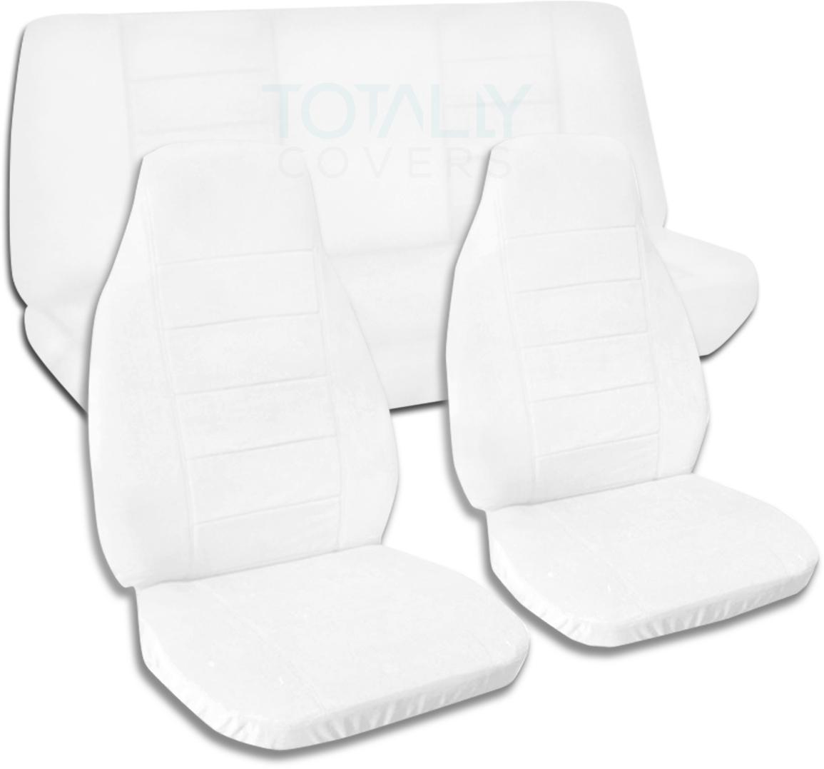 Solid Color Car Seat Covers Full Set Semi Custom Black Gray Brown